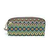 My Little Nest Hand Drawn Tribal Aztec Geometric Pattern Cosmetic Makeup Bag Pencil Case Multi Function School Office Organizer Bag with Zipper Closure