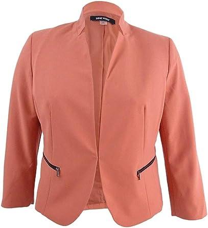 NINE WEST Womens Plus Size Kiss Front Bi Stretch Jacket with Zip Pockets