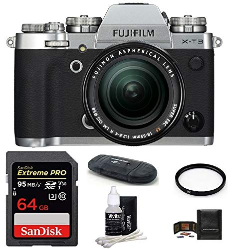 FUJIFILM X-T3 Mirrorless Digital Camera with XF 18-55mm f/2.8-4 R LM OIS Zoom (Silver) Bundle, Includes: SanDisk 64GB Extreme PRO SDXC Memory Card, Card Reader and More