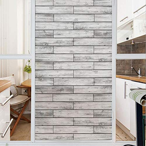 Decorative Window Film,No Glue Frosted Privacy Film,Stained Glass Door Film,Picture of a Parquet Grey Wood Texture Rusty Retro Antique Aged Display Striped Tile,for Home & Office,23.6In. by 35.4In Tau
