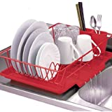 Home Basics 3 Piece Dish Drainer Set Finish, Red