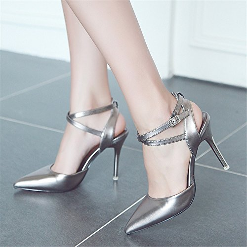 Verano Talón Los Mujer Alto Zapatos Con Finos De Del Cabezal Nueva Zapatos Sandalias Gray El HXVU56546 Punta Sandalias El En La Con a8qnxzHtw