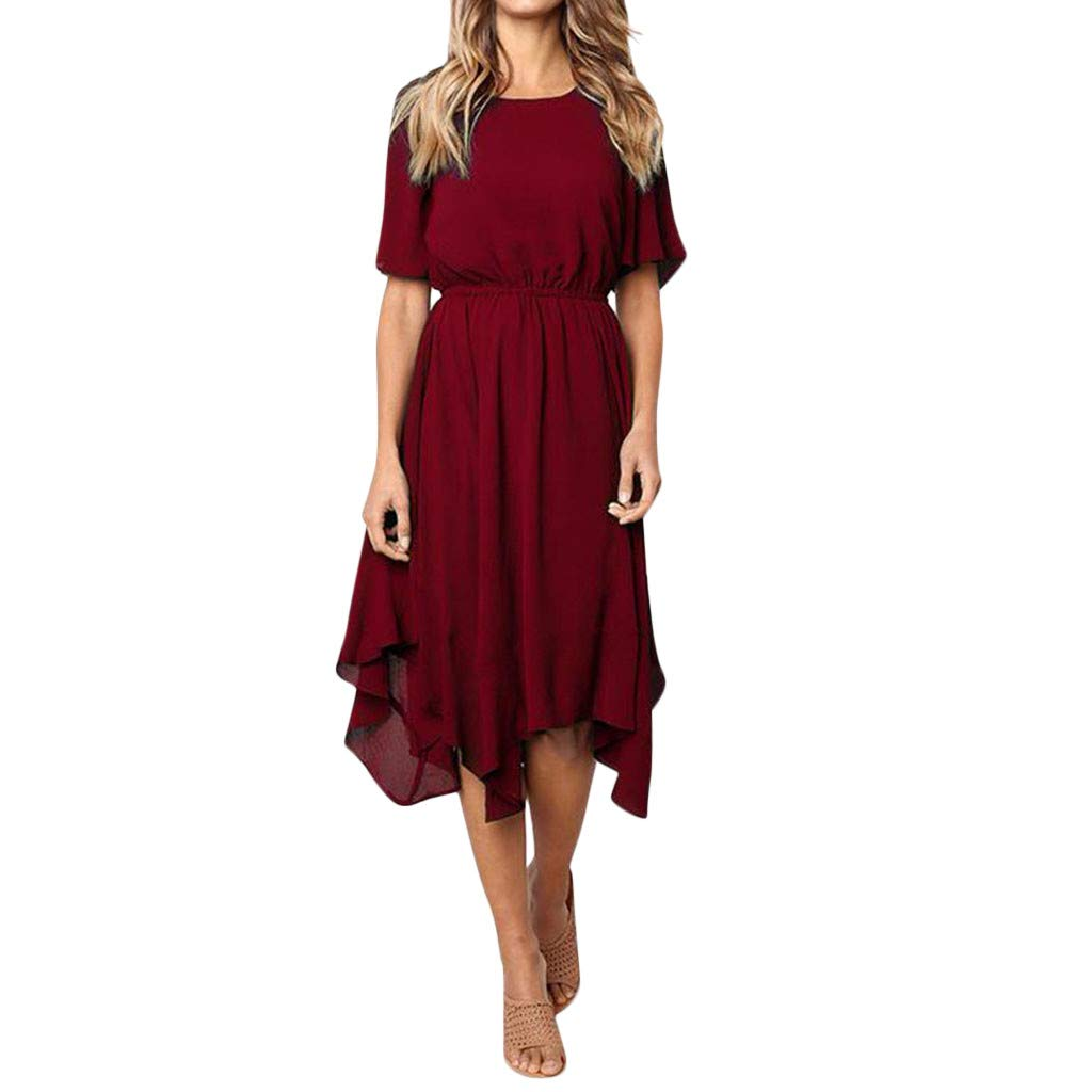 Women Casual Short Sleeve O Neck Knee Length Dress Evening Party DressGirls' Fashion by HOSOME Wine Red