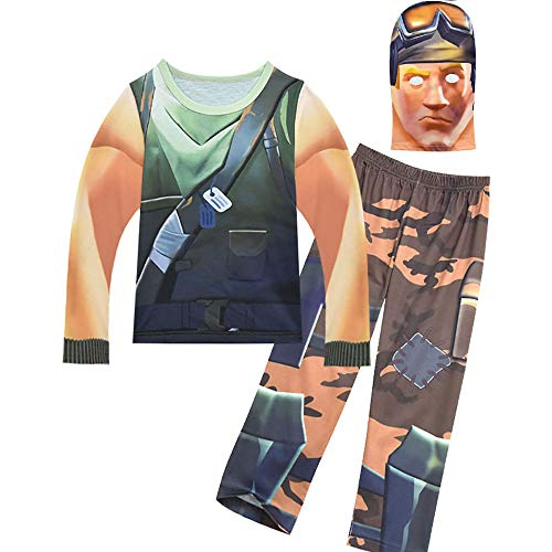 Boys' Soldier Pajamas Kids' Cosplay Costume with Mask for Party Halloween Christmas(M) -