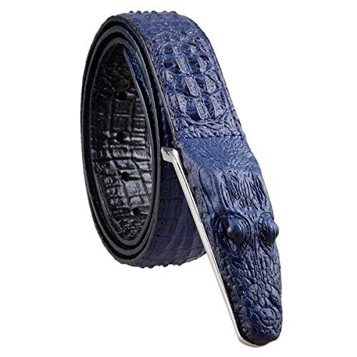 Samtree Mens Adjustable Leather Belt Embossed Alligator Plaque Buckle(01-Navy Blue) -