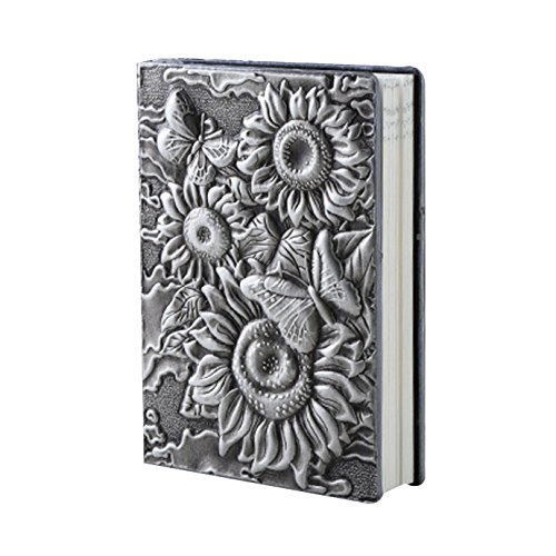 (Vintage Embossed Sunflower Leather Journal Notebook A5 Retro Travel Journal (Silver)