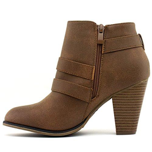Forever Frauen Schnalle Block Block Heel Ankle Booties Premier Tan *