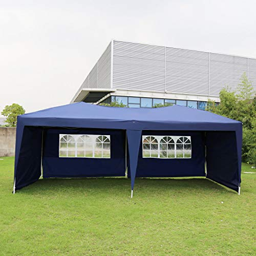 Kinbor 10'x20' EZ Pop Up Canopy Tent w/Removable Sidewalls, Blue Folding Instant Wedding Party Patio Event ()