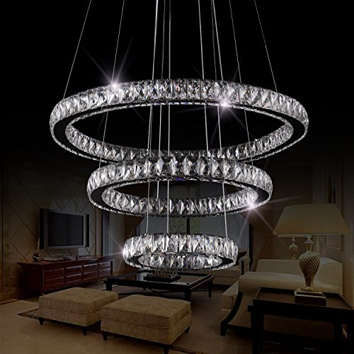 SEFINN FOUR LED Chandelier 3 Modern Flush Mount Crystal Ceiling Pendant Lights 60 inch Length 28 inch Outer Ring Diameter, Oval (30+50+70)