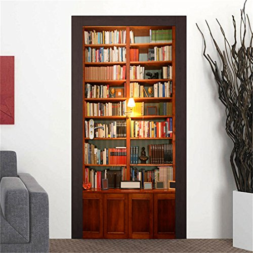 MISSSIXTY 3D Bookshelf Door Wall Mural Wallpaper Stickers Vinyl Removable Decals for Home Decoration 30.3