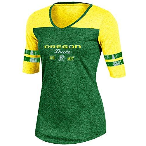 Ncaa Oregon Ducks Adult Women Half Sleeve V Neck Tunic  Large  Green Heather
