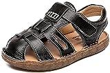VECJUNIA Boy's Girl's Sports Sandals Closed-Toe Non-Slip Water Outdoor Sandals (Black, 3.5 M US Big Kid)