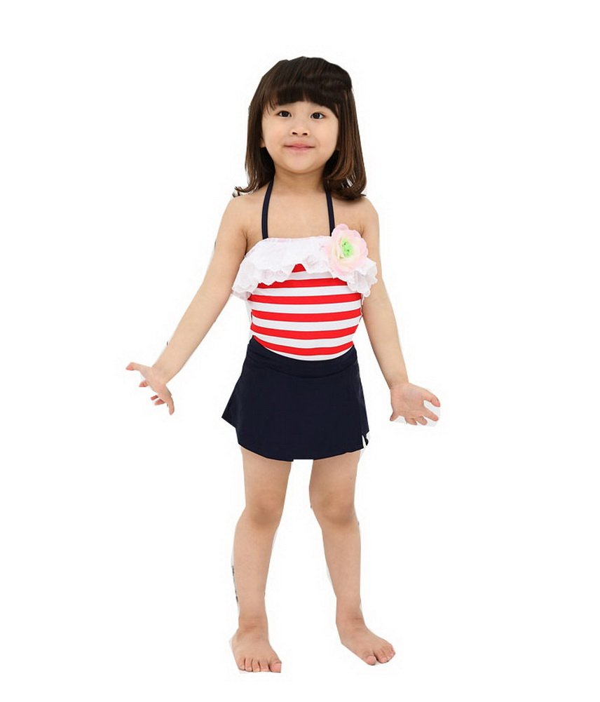 Red Striped One Piece Swimsuit & A Skirt, Girls One Piece (8-10 Years Old) PANDA SUPERSTORE PS-SPO2420249011-EMILY00806