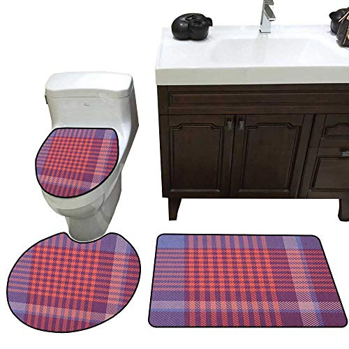 - Checkered 3 Piece Toilet mat Set Retro British Irish Cultural Pattern of Tartan Abstract Celtic Design Bathroom and Toilet mat Set Purple Lavender Orange