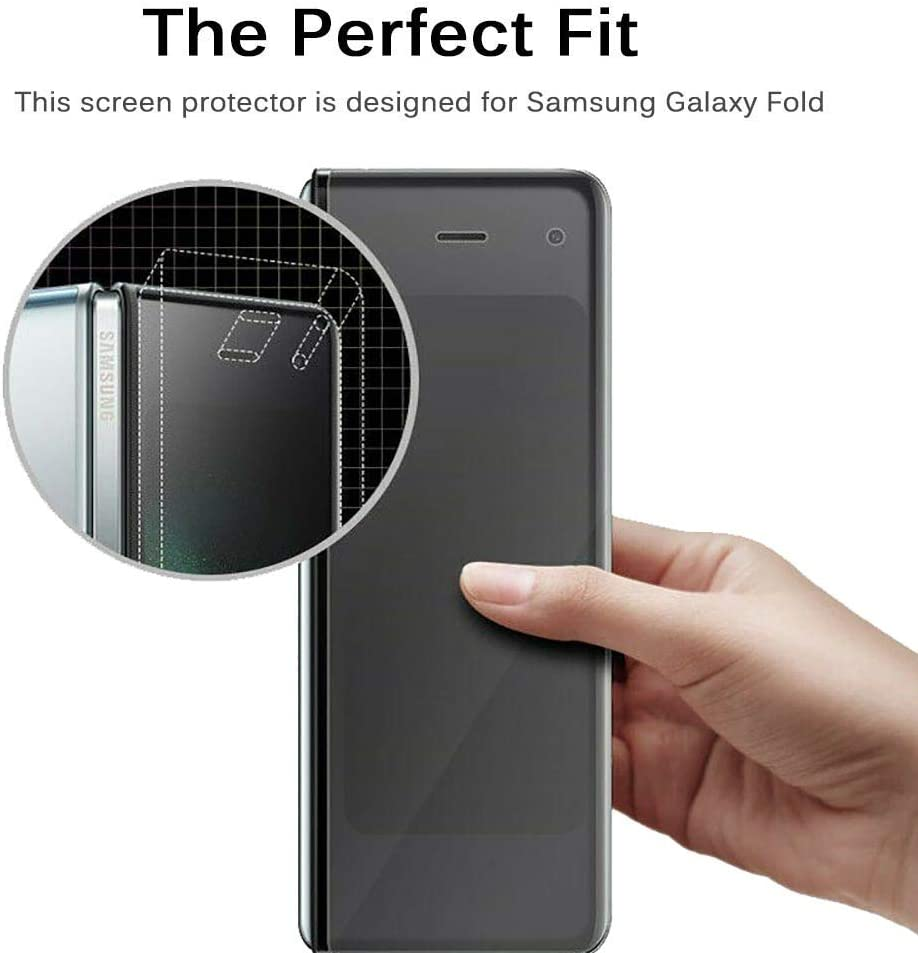 Compatible with Samsung Galaxy fold Screen Protector HD Clear Anti-Scratch Nano Screen Protector Film Compatible with Samsung Galax Fold 2xFront and 2xBack Film 4 Pack