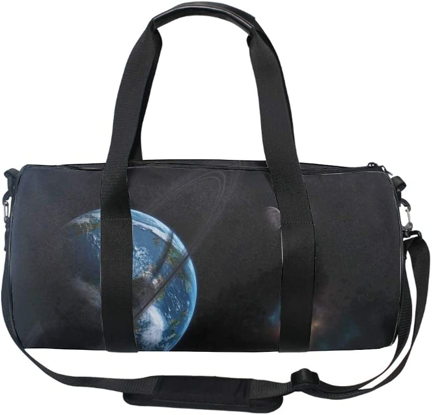 Planet Ring Moon Stars Galaxies Round Gym Duffle Bag Drum tote Fitness Travel Bag Rooftop Rack Bag
