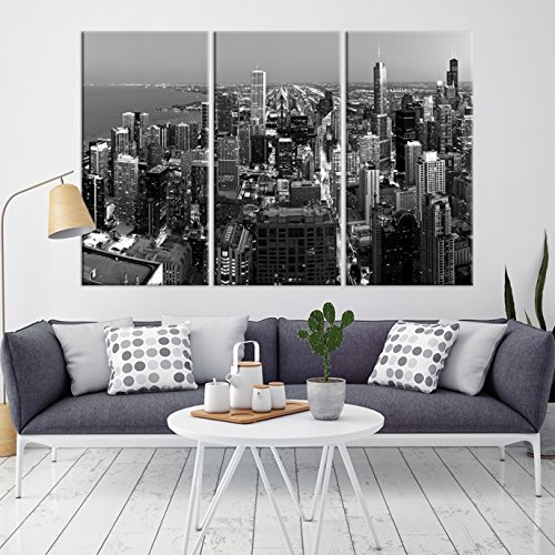 Chicago Skyline Black And White Night Wall Art Canvas Print For Home Decor Living Room
