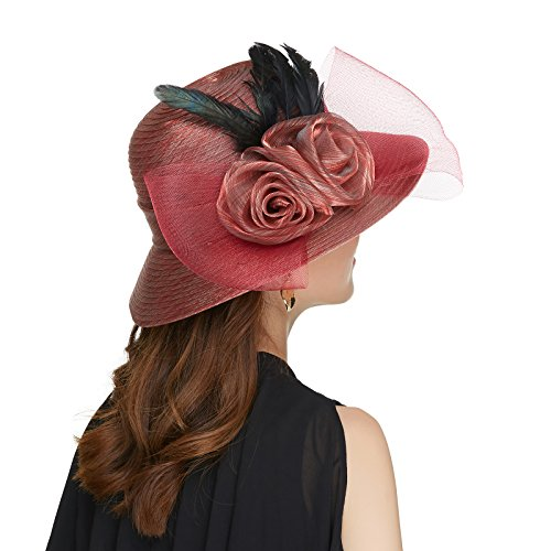 Ladies Fancy Church Hats Tea Party Fascinator Hats for Women (Red)