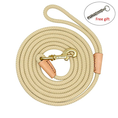 PET ARTIST Braided Nylon Rope 10ft-66ft Tracking/Training Long Dog Leash, Beige Color Rope with Anti-Rust Heavy Duty Copper Clasp/Hook - Long Lead with Comfortable Touching(10ft)