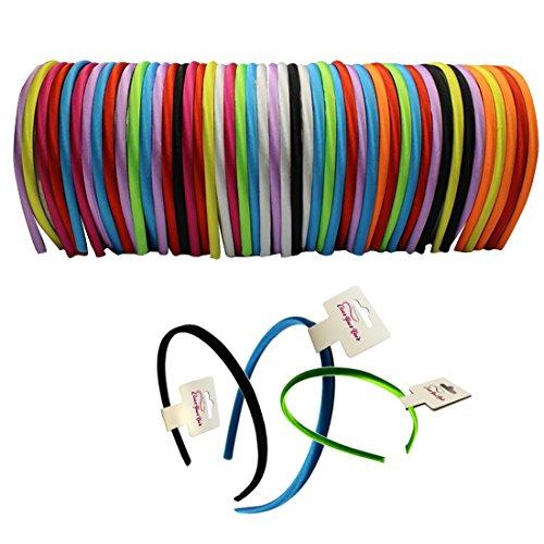 CoverYourHair Satin Headband - 0.5 cm - 48 pcs Beautiful Flexible Headbands ()