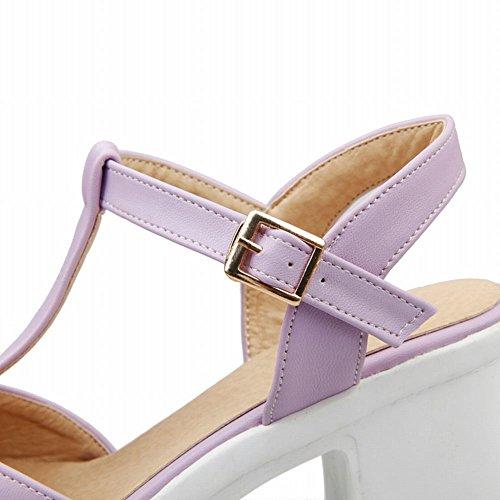 Carolbar Élégance Femmes Boucle T-strap Douce Mode Été Plateforme Chunky Haut Talon Sandales Violet