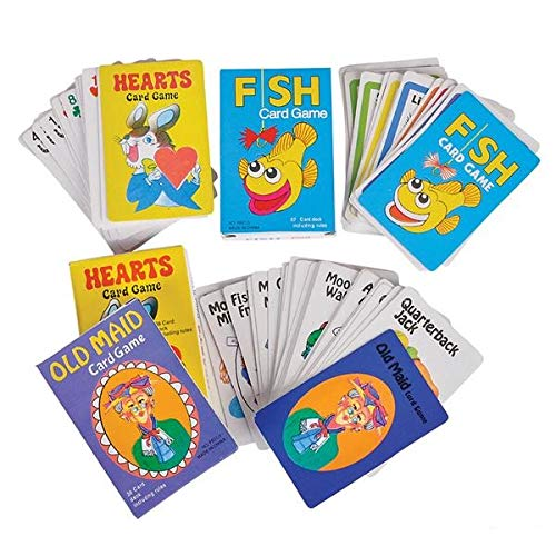 SRENTA Coated Card Games, Hearts, Fish, and Old Maid Classic Kids Cards Games, Great Party Favors for Children, Pack of 12