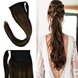YoungSee 14 inches Hair Extensions Ponytail Remy Human Hair Balayage Darkest Brown Mixed