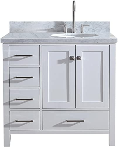 ARIEL 37 Inch Bathroom Vanity in White with Carrara White Marble Counter-top Right Offset Oval Sink 2 Soft Closing Doors and 5 Full Extension Dovetail Drawers No Mirror