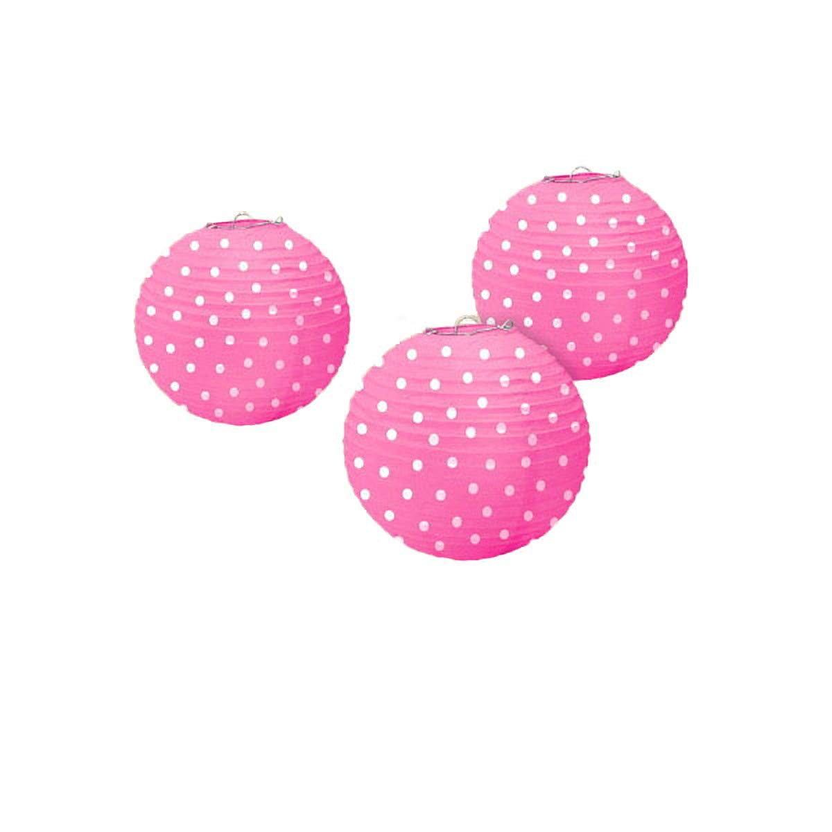 Dots Printed Paper Lanterns - Bright Pink, 36 Ct.