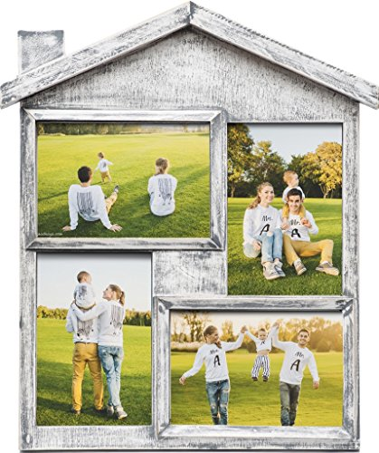 Photo Frame Collage - Large Multiple Picture Frame Displays Four 4x6 Inch - Gift for Family Love & Best Friends (Picture Friend Wooden Frame)