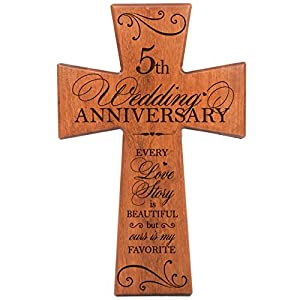 5th Wedding Anniversary Gift For Couple Cherry Wood Wall Cross5th Gifts Her5th Him Every Love Story Is