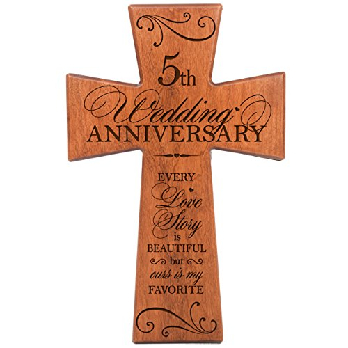 LifeSong Milestones 5th Wedding for Couple Cherry Wood Wall Cross,5th for Her,5th Wedding for Him Every Love Story is Beautiful but Ours is My Favorite # -
