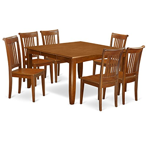 PFPO7-SBR-W 7 Pc Dining set-Table with Leaf and 6 Dinette Chairs