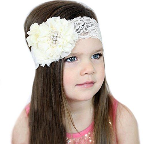 Miugle Girls Headbands Flowers Ivory