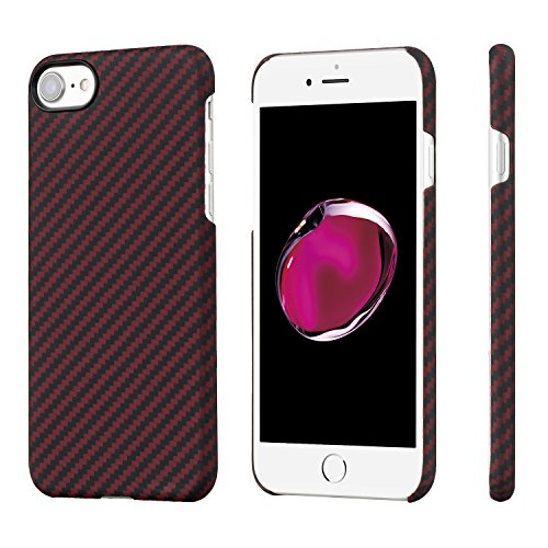 PITAKA Slim Case Compatible with iPhone 8/7 4.7, MagCase Aramid Fiber [Real Body Armor Material] Phone Case,Minimalist Strongest Durable Snugly Fit Snap-on Case - Black/Red(Twill)