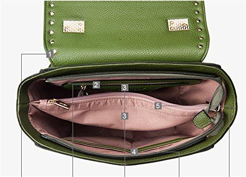Xinmaoyuan Mujer bolsos de cuero Bolsos de alas de murciélago hombro Bolsa Bolso Messenger Empuñadura remache,verde Green