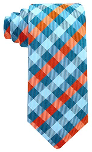 - Gingham Plaid Ties for Men - Woven Necktie - Turquoise and Orange