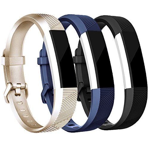 R Bands and Fitbit Alta bands (3 PACK), Replacement Sport Wristbands with Metal Buckle for Fitbit Alta HR/Fitbit Alta (HR (3 Count) Gold+Balck+Blue, Small) ()