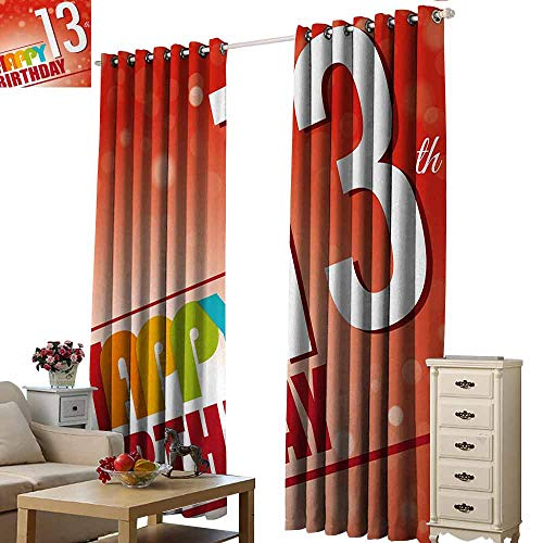 Homrkey Windshield Curtain 13th Birthday Retro Style Teenage Party Invitation Graphic Design with Bokeh Effect Rays Noise Reducing Curtain W96 xL84 Multicolor ()
