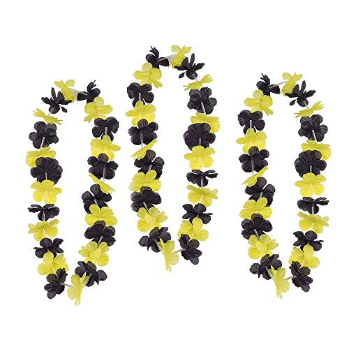 Team Spirit Flower Leis Yellow and Black - 12 Pieces]()