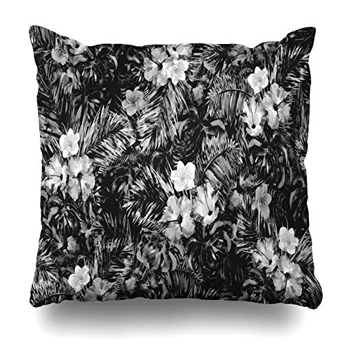 Ahawoso Throw Pillow Cover Woven Watercolor Dark Monochrome Floral Pattern Black White Tropic Abstract Tropical Geometric Home Decor Cushion Case Square Size 16