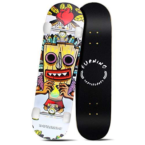 "Easy_Way Complete Skateboards- Standard Skateboards 95A ABEC-7 for Beginners Starters Kids Boys Girls Youth- 31""x 8"" Canadian Maple Cruiser Pro Skate Board,Longboard Skateboards"