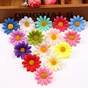 Artificial Flowers Fake Flower Heads Small Silk Sunflower Handmake Head Wedding Decoration DIY Wreath Gift Scrapbooking Craft Party Festival Home Decor Fake Flower 100pcs 86