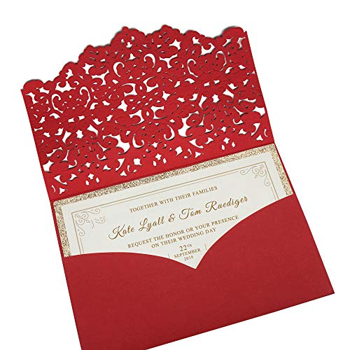 Picky Bride 50Pcs Red Laser Cut Pocket Wedding Invitations with 2-Layers Gold Glitter Invitation Cards Red Envelopes 127 x 185mm - Set of 50 pcs (Red)