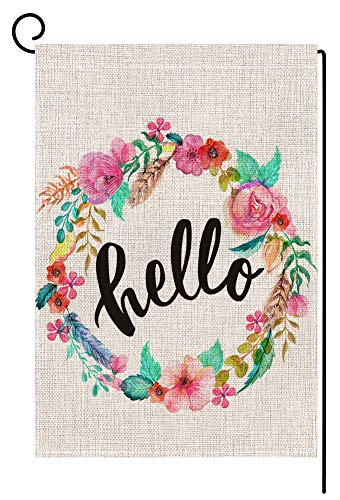 BLKWHT Hello Floral Wreath Garden Flag Vertical Double Sided 12.5 x 18 Inch Easter Spring Summer Welcome Yard Decor ()