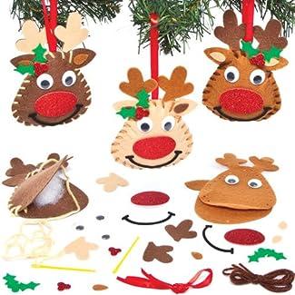 Kits de Couture pour Fabriquer des Décorations du Renne Rudolph que les Enfants pourront Confectionner, Décorer et Suspendre au Sapin (Lot de 3)