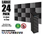 Arrowzoom New 24 Pack of 9.8 X 9.8 X 1.9 Inches Black and Gray Soundproofing Insulation Pyramid Acoustic Wall Foam Padding Studio Foam Tiles AZ1034 (BLACK & GRAY)