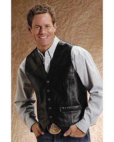 Roper Men's Lamb Leather Vest Big and Tall Black - Leather Lamb Vest