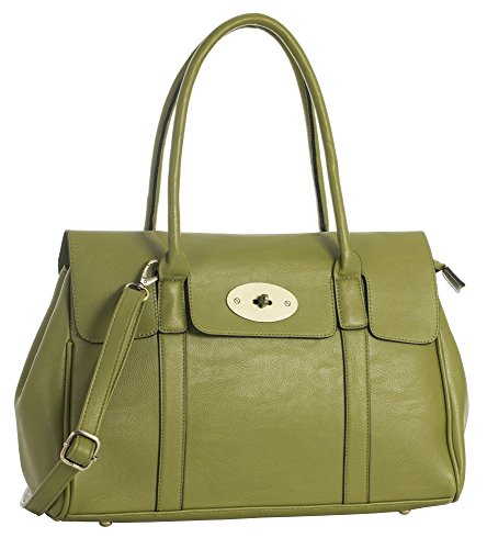 Olive Leather Boutique Green Handbag Handle Turnlock Big Bag Womens Shoulder Shop Vegan Designer Top I6q7YTn