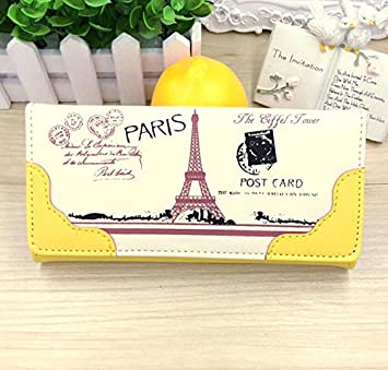 Cartera de lujo Onewiller, para mujer, diseño de la Torre Eiffel (incluye tarjetero), amarillo: Amazon.es: Bricolaje y herramientas